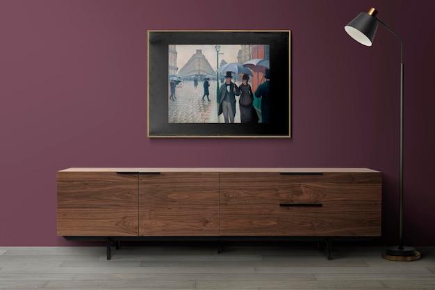 Fotolijstmodel hangend in het interieur van de moderne woonkamer