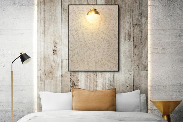 Fotolijstmodel hangend in het interieur van een minimaal slaapkamerinterieur