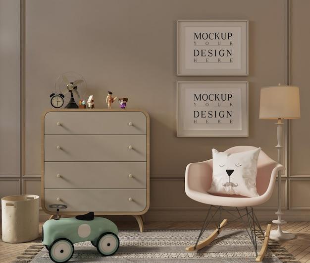 Fotolijstmodel in schattig interieur van speelkamer voor kinderen