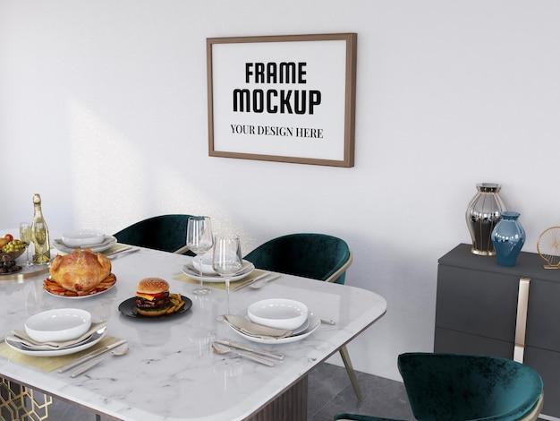 Fotolijstmodel realistisch in de eetkamer