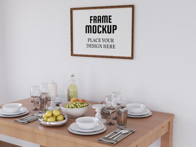 Fotolijstmodel realistisch in de moderne keuken