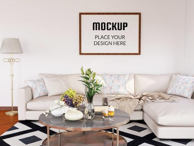 Fotolijstmodel realistisch in de moderne woonkamer