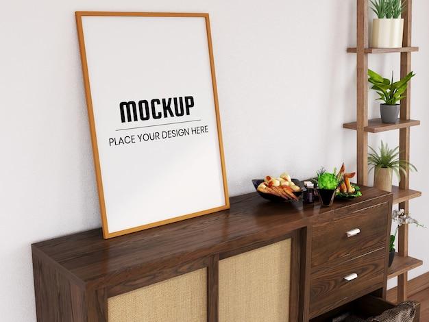 Fotolijstmodel realistisch op het bureau