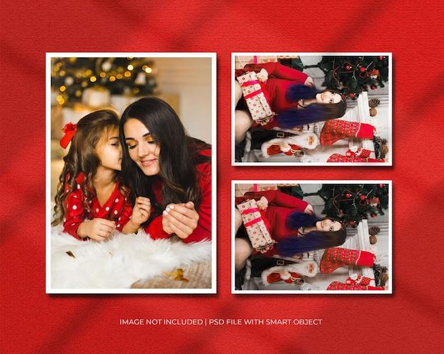 Fotolijstmodel voor kerst- of nieuwjaarsmodel en rode achtergrond met schaduwoverlay