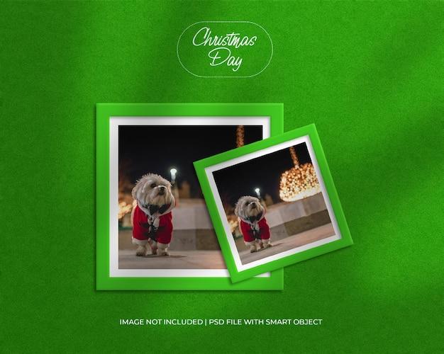 Fotomodel met vierkant papierframe voor kerstmis en vrolijke kerstdag