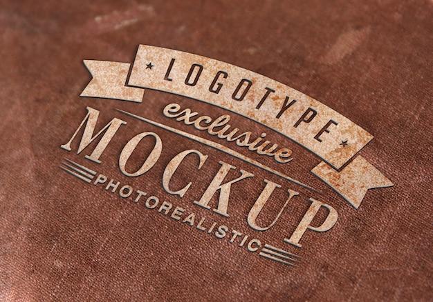 Fotorealistische logotypemodel in vintage stijl