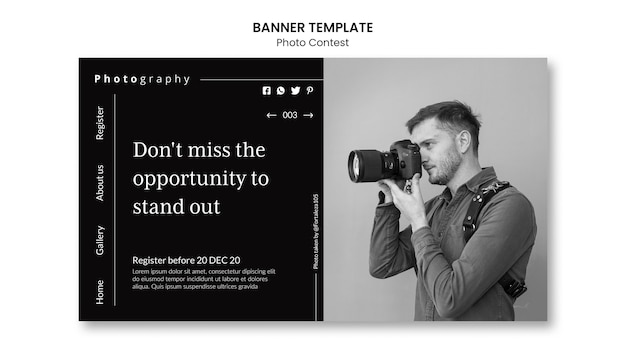 Fotowedstrijd banner sjabloon stijl