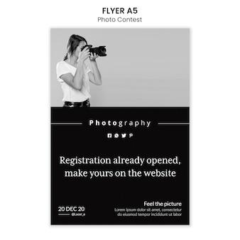 Fotowedstrijd flyer sjabloonontwerp