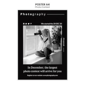 Fotowedstrijd poster sjabloonontwerp