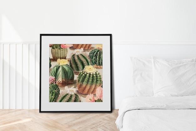 Frame art mockup design element in de buurt van bed
