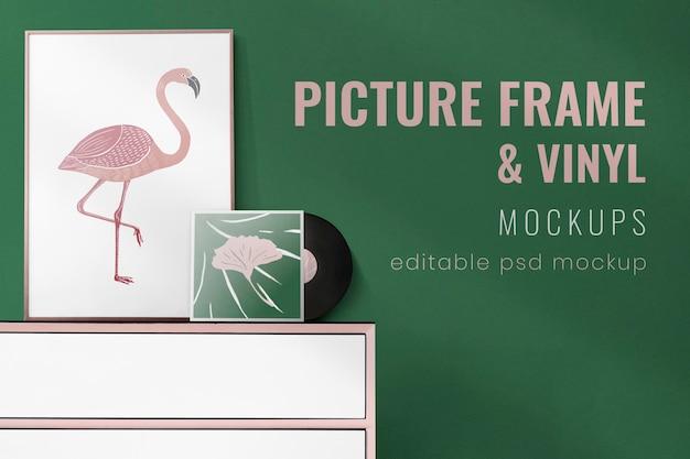 Frame en vinyl mockup-ontwerp