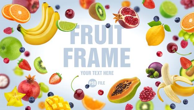 Frame gemaakt van fruit en bessen geïsoleerd op een witte achtergrond