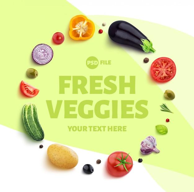 Frame gemaakt van verschillende groenten, kruiden en specerijen met kopie ruimte sjabloon
