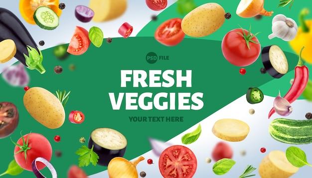 Frame gemaakt van verschillende groenten, kruiden en specerijen, met kopie ruimte