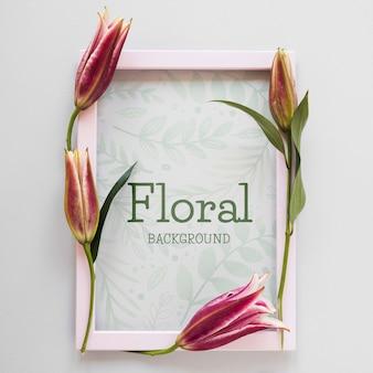 Frame met bloemen naast