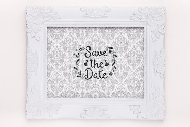 Frame met fancy tapijt bewaar de datum mock-up