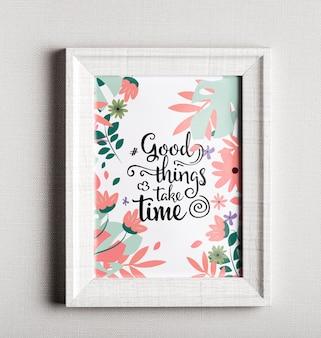 Frame met kleurrijke motiverende citaat