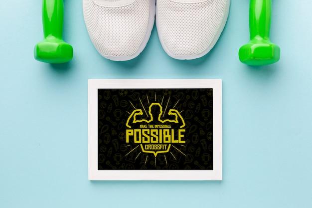 Frame met motiverende citaat voor fitness