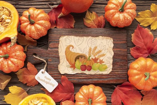 Frame met pompoenenthema op thanksgiving day