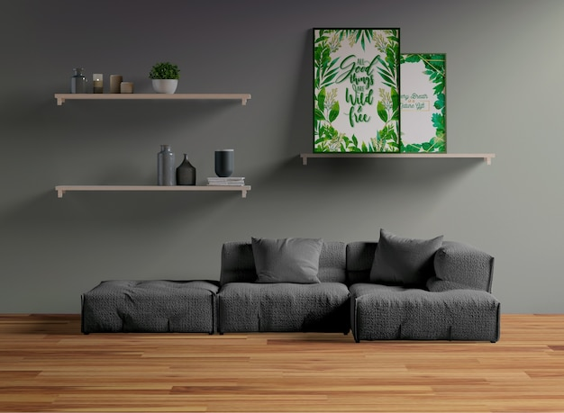 Frame mock-up op plank in de woonkamer