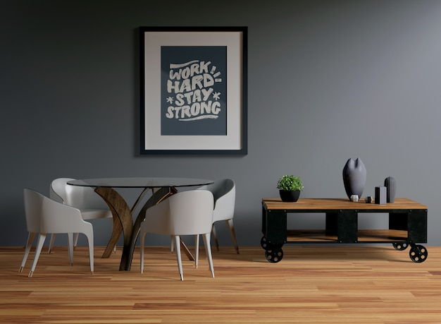 Frame mock-up opknoping aan de muur
