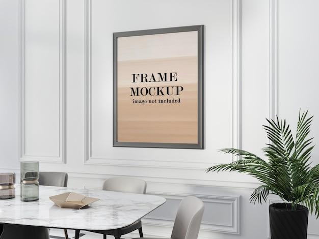 Frame mockup binnen lijstwerk op witte muur