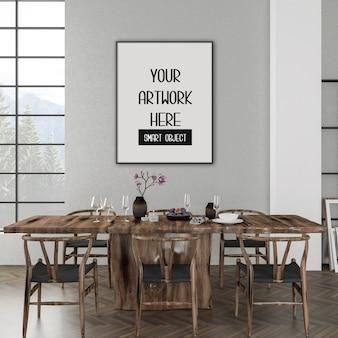 Frame mockup, eetkamer met zwart verticaal frame, rustiek interieur