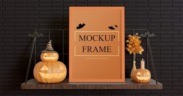 Frame mockup halloween-editie met instelbare kleur