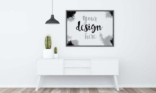 Frame mockup in een minimalistische kamer