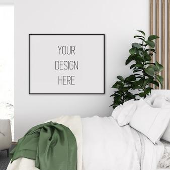 Frame mockup in slaapkamer met zwart horizontaal frame