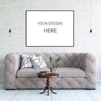 Frame mockup interieur stijl 3d-rendering