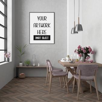 Frame mockup, kamer met zwart verticaal frame