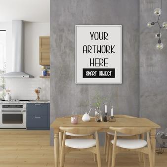 Frame mockup, keuken kamer met witte verticale frame, scandinavisch interieur