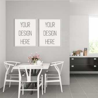 Frame mockup, keuken met dubbele witte frames, scandinavisch interieur