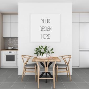 Frame mockup, keuken met wit vierkant frame, scandinavisch interieur