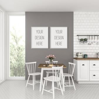 Frame mockup, keuken met witte dubbele frames, scandinavisch interieur