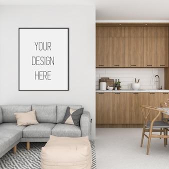 Frame mockup, keuken met zwart verticaal frame, scandinavisch interieur