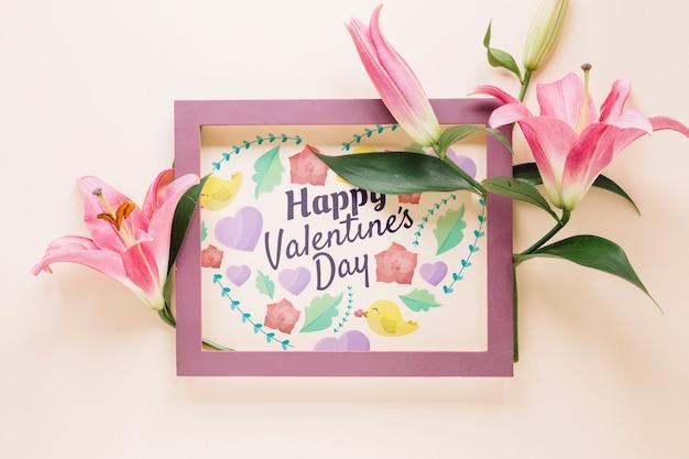 Frame mockup met bloemen valentijnsdag concept Gratis Psd