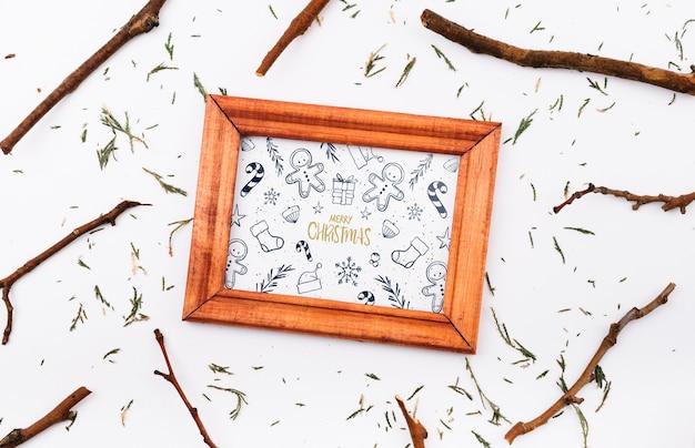 Frame mockup met kerst concept