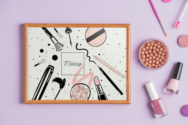 Frame mockup met make-up concept