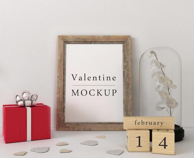 Frame mockup met samenstelling van valentijn objecten