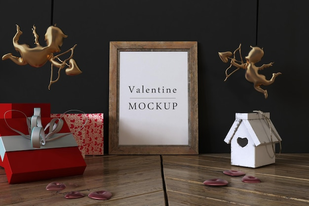 Frame mockup met samenstelling van valentine-objecten