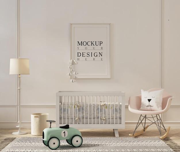 Frame mockup-ontwerp in moderne kinderkamer