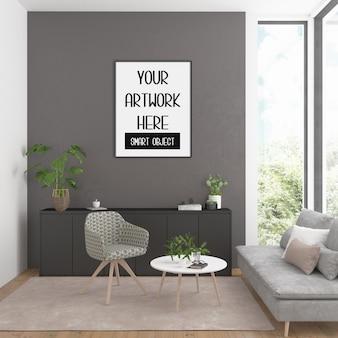 Frame mockup op de kamer muur