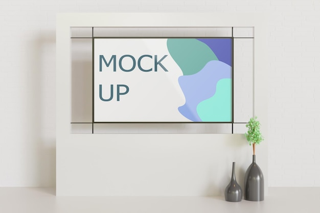 Frame mockup op het witte minimalistische interieur