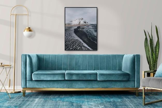 Frame mockup psd in een woonkamer in chique moderne luxe esthetiekstijl