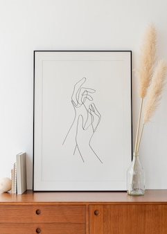Frame mockup psd met minimale esthetische handen lijntekeningen afbeelding