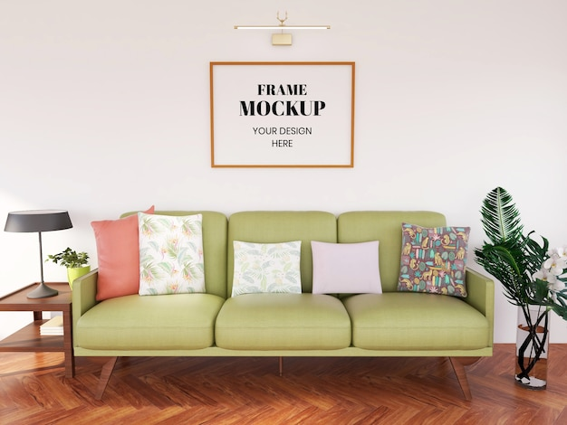 Frame mockup realistisch in de woonkamer