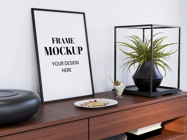 Frame mockup realistisch op het binnenbureau