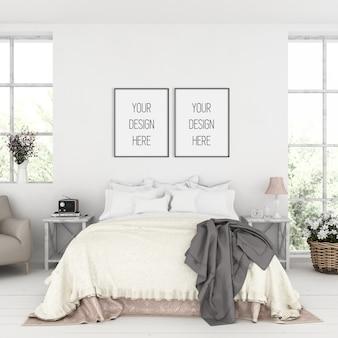Frame mockup, slaapkamer met dubbele zwarte frames, rustiek interieur